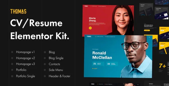 Best CV/Portfolio Elementor Template Kit