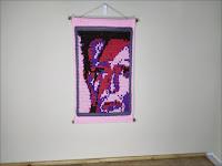 Original Fine Art Tapestry - A Ladd Insane: Portrait of David Bowie - by Jen Tennille