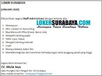 Bursa Kerja Surabaya di CV. Mulia Jaya Januari 2020