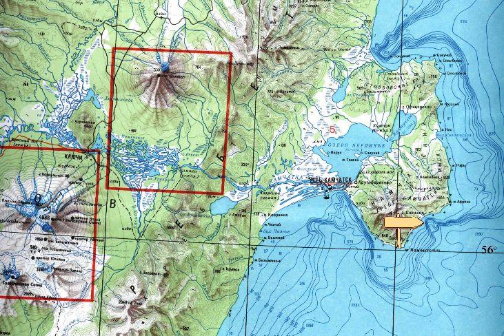 карта усть-камчатск мыс камчатский