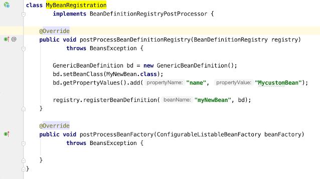 Spring Framework BeanDefinitionRegistryPostProcessor Example