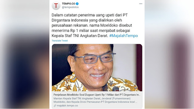 PT Dirgantara Diduga Berikan Upeti untuk Pejabat Kemenhan sampai TNI, Ada Nama Moeldoko