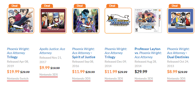 Phoenix Wright Ace Attorney Nintendo eShop Switch 3DS Black Friday Cyber Monday 2019 sale discounts