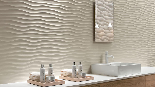 Tile design on wall with sinuous motifs surfaces