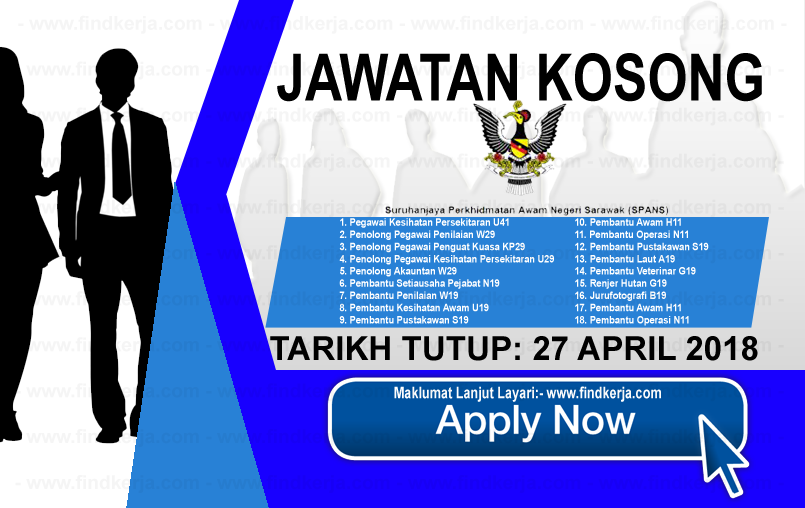 Jawatan Kerja Kosong SPANS - Suruhanjaya Perkhidmatan Awam Negeri Sarawak logo www.findkerja.com april 2018