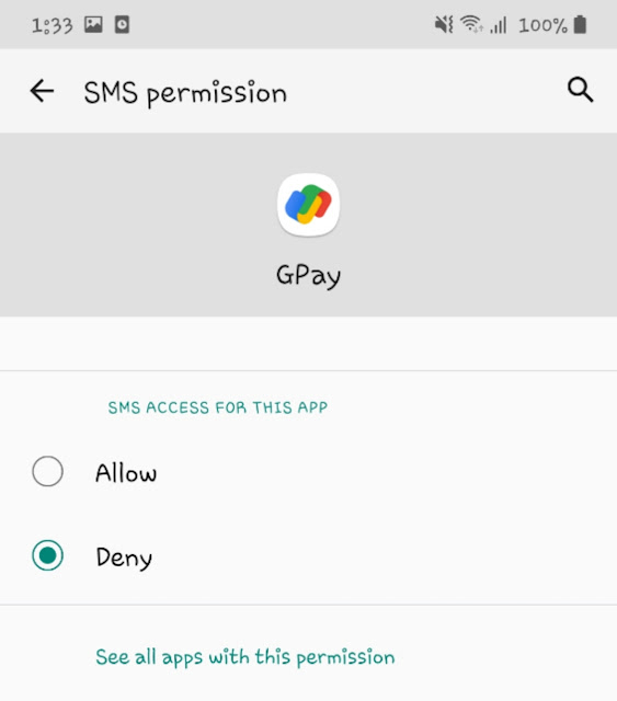 Enable SMS permission for Google Pay app