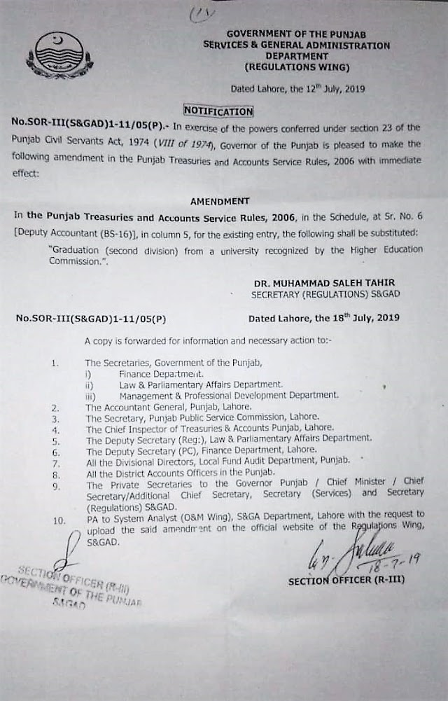 AMENDMENT IN THE SERVICE RULES OF DEPUTY ACCOUNTANT
