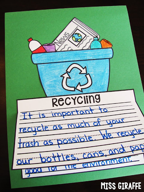 Recycling writing activity that is an easy NO PREP craft! I love these Earth Day writing prompts and ideas for April and May