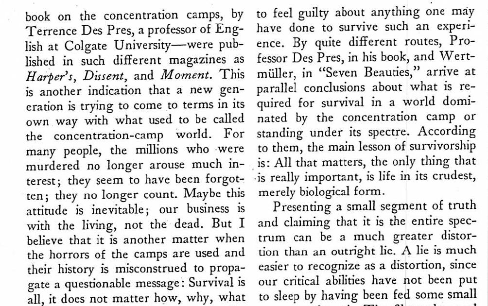 The holocaust essay by bruno bettelheim
