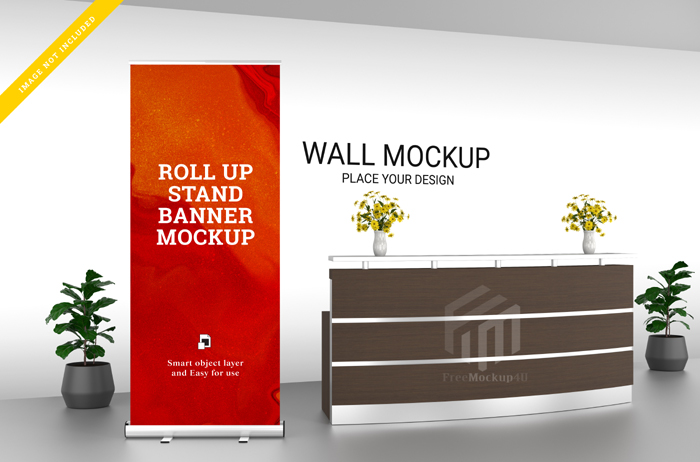 Roll Up Banner Stand Wall Mockup Reception
