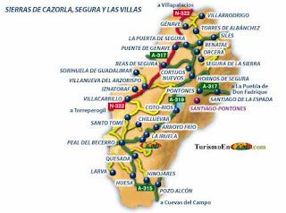 Mapa de la Sierra de Cazorla.