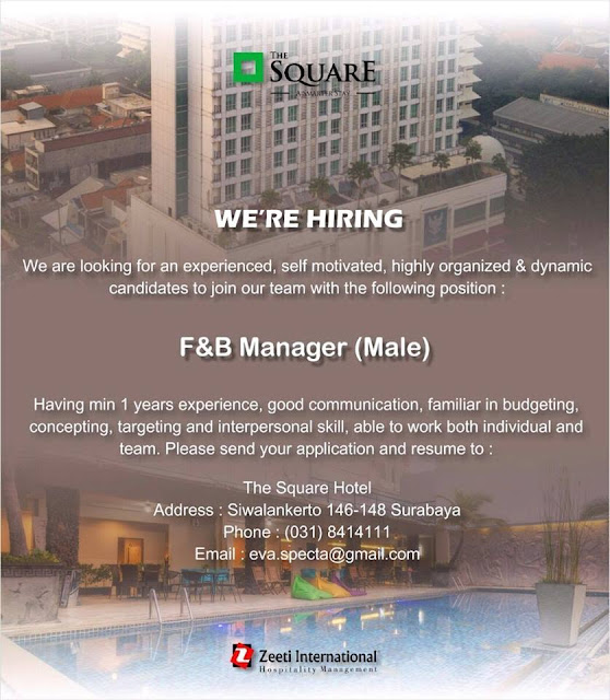Lowongan Kerja F & B Manager the square Hotel