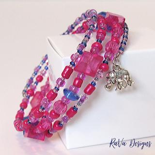 blue and pink elephants charms bracelets handmade seed beads