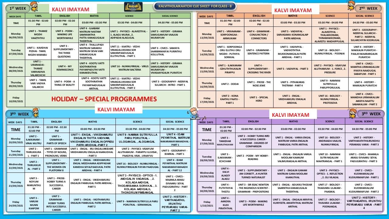 September Month Kalvi TV Time Table for 8th Standard