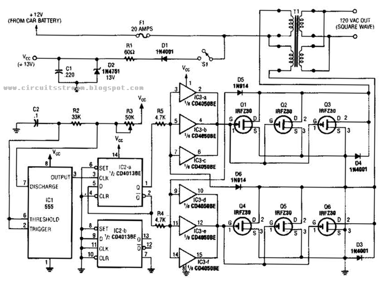simple 250w inverter circuit diagram electronic circuit. Black Bedroom Furniture Sets. Home Design Ideas