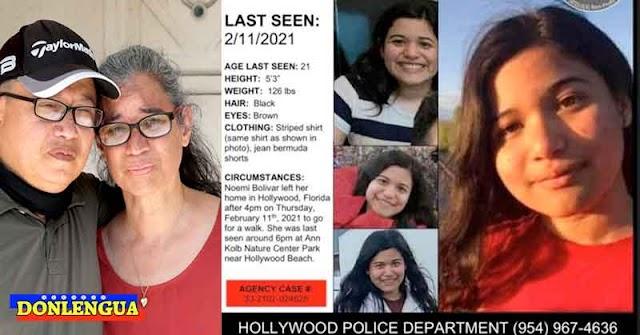 Pareja venezolana busca a su hija desaparecida en un parque de Florida - Estados Unidos