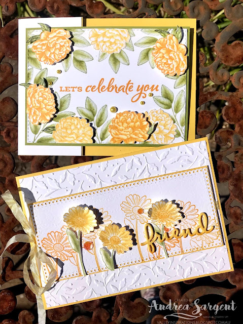 Daffodil Delight Prized Peony, Forever Fern and Ornate Style Stampin Up cards, Andrea Sargent, Independent Stampin' Up! Demonstrator, South Australia