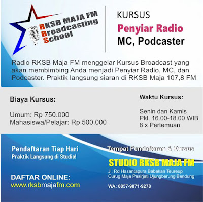 Tempat Kursus Penyiar Radio, MC, Podcaster di Bandung