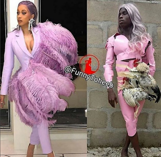 Cardi B Posts Funny Toheeb's Recreation Of Herself (See Photos)