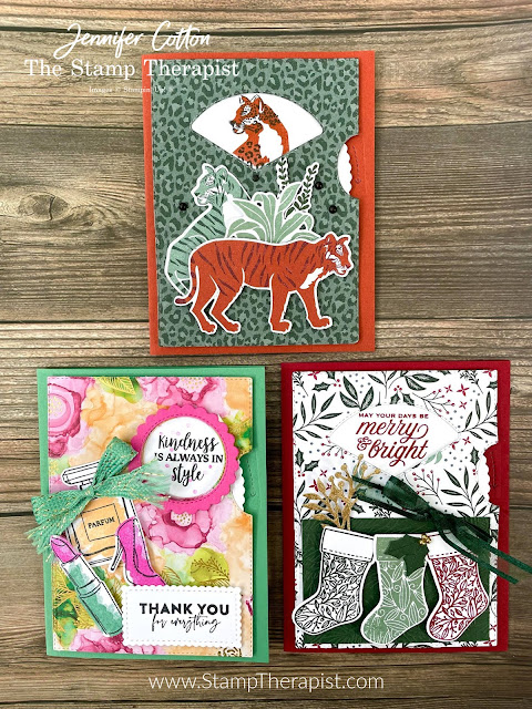 """Three cards using the Give it a Whirl Dies from Stampin' Up!.  Also uses: Wild Cats, Tidings & Trimmings, Dressed to Impress.  Fun """"spinner"""" cards.  Link to video, supply list, and measurements on the blog.  #StampinUp #StampTherapist #GiveitaWhirl"""