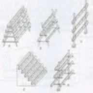 Gambar Beberapa model susunan kolum horizontal bambu (Sket)