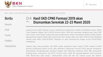 Pengumuman Hasil SKD CPNS Tahun 2019 akan Diumumakan Tanggal 22-23 Maret 2020