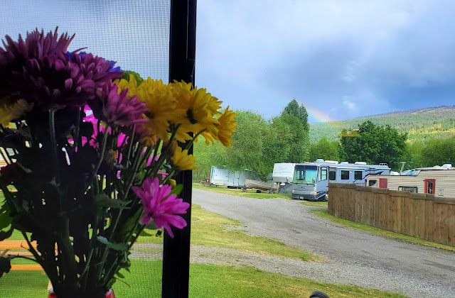 Rainbow seen from inside RV in Clinton BC Canada