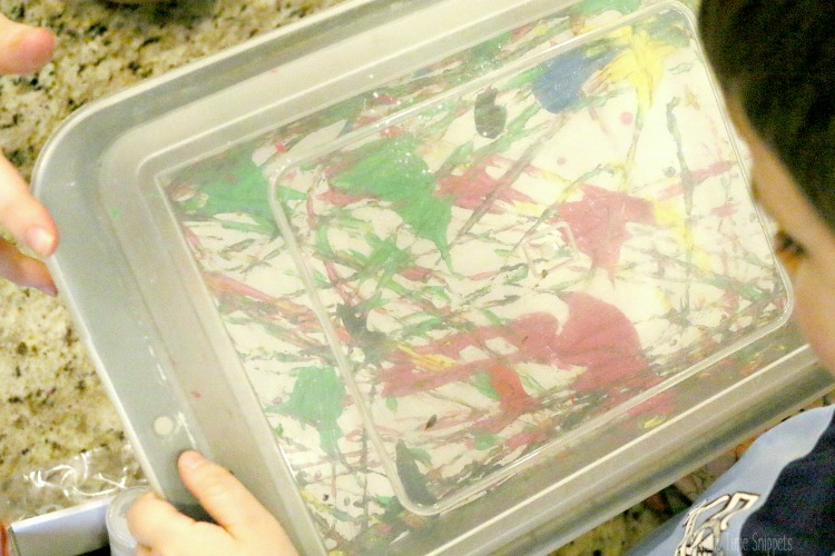 marble painting in a pan