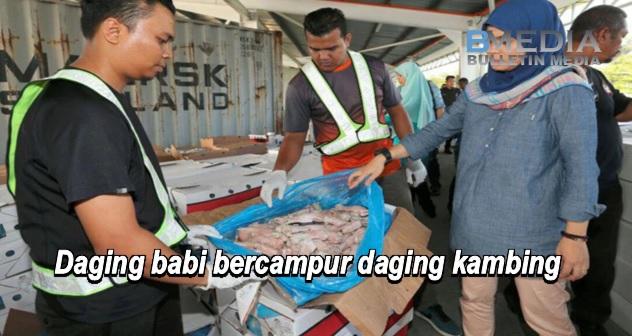 Daging babi bercampur daging kambing