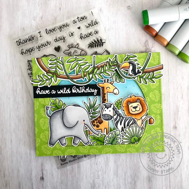 Sunny Studio Stamps: Tropical Scenes Savanna Safari Stitched Semi-Circle Dies Fabulous Flamingos Birthday Card by Tammy Stark