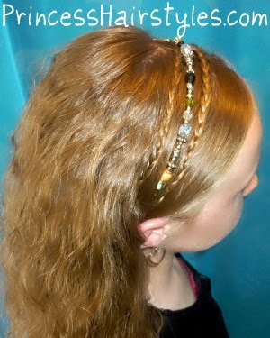 Boho braids and beaded headband hairstyle. Video tutorial.