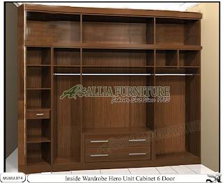 Dalam lemari pakaian minimalis model cabinet unit Hero