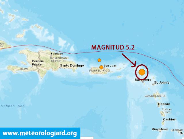 Temblor de 5,2 en Antillas Menores