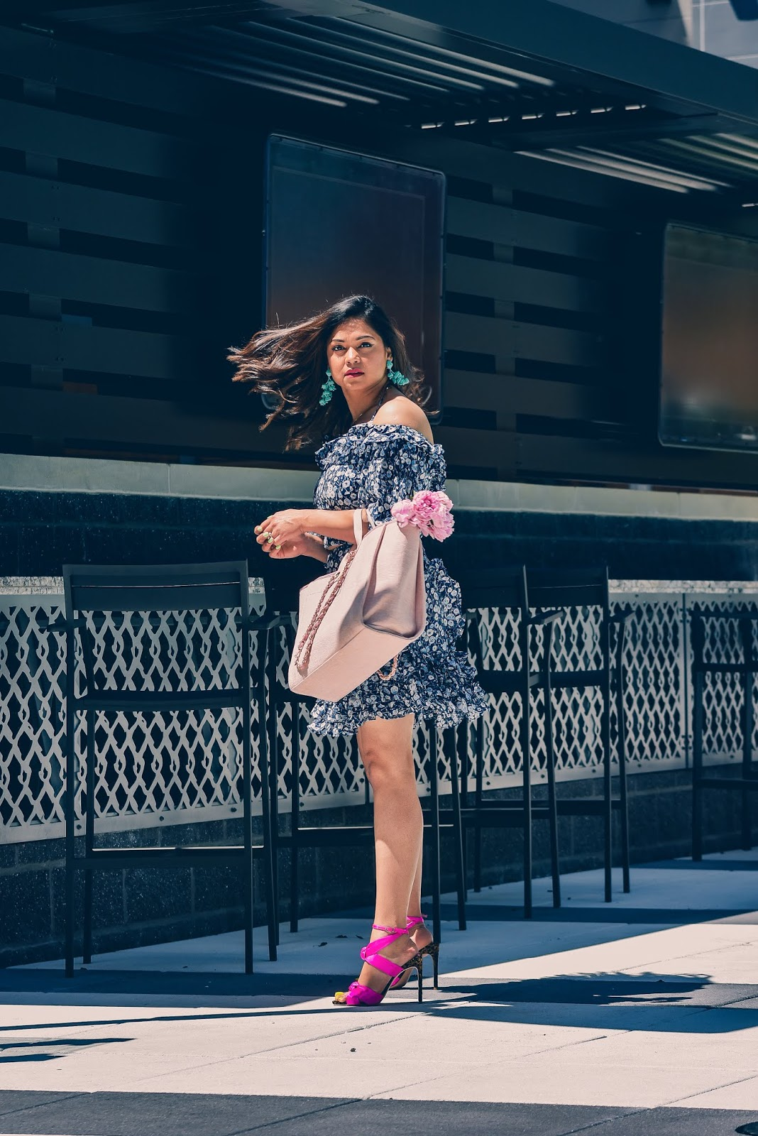 NY AND CO eva mendes set, dc blogger, skirt and top set, flower separates, fashion, dc blogger, dc style, spring fashion, wedding outfit idea, indoor party, date night, sophia webster pink heels, myriad musings, saumya shiohare