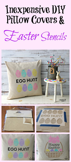 Easy Easter DIY Stenciled Pillow Covers #stencil #Easterdecor #pillow #HobbyLobby