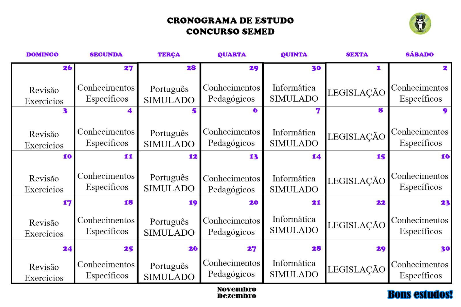 Cronograma De Estudos Pedagogia Para Concursos