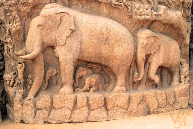 Life size panel of elephant herd moving towards the river ganges