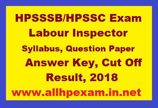 HPSSSB HPSSC Labour Inspector, Syllabus, Question Paper