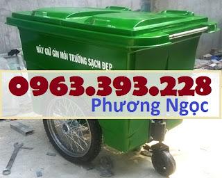Xe gom rác nhựa 660 Lít, xe gom rác 3 bánh, xe gom rác 660L 3 bánh hơi XR660L3B5