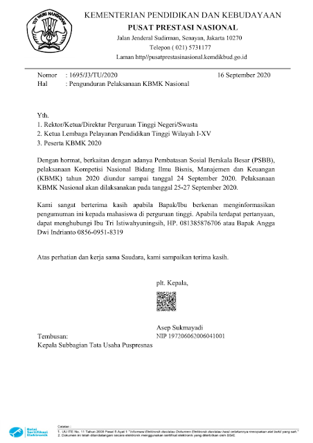 pengunduran jadwal kbmk nasional 25-27 september 2020 tomatalkuang.com
