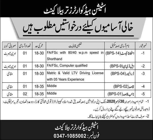 Pak Army Station Headquarter Tarbela Latest Jobs in Pakistan Jobs 2021