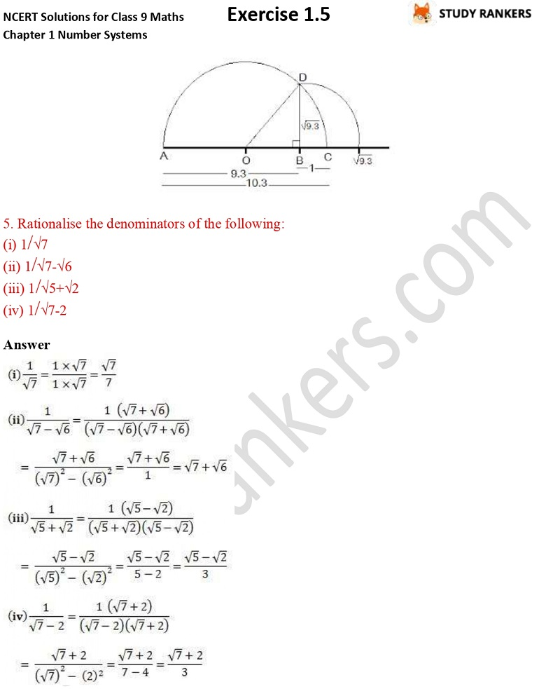 NCERT Solutions for Class 9 Maths Chapter 1 Number Systems Exercise 1.5 Part 3