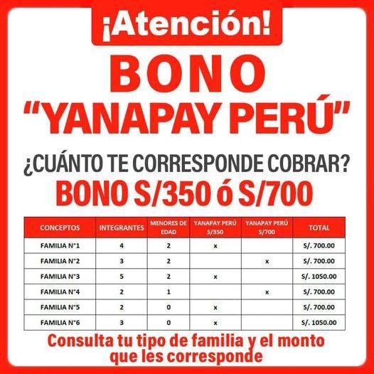 Cronograma Completo De Pagos Del Bono Yanapay De 700 Soles | Gob.Pe