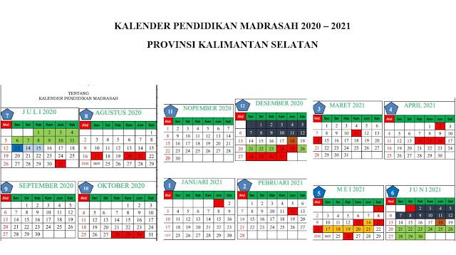 [Baru] Kalender Pendidikan Madrasah Tahun Pelajaran 2020-2021 Kalimantan Selatan