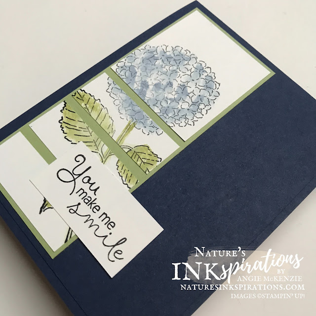 By Angie McKenzie for Casually Crafting Design Team Blog Hop; Click READ or VISIT to go to my blog for details! Featuring the Hydrangea Haven Photopolymer Stamp Set by Stampin' Up!® to create a handmade card inspired by a sketch challenge using stamps, ink and paper; #stampinup #cardtechniques #cardmaking #naturesinkspirations #diycards #handmadecards #hydrangeahaven #stampingtechniques #stampinupcolorcoordination #bluehydrangea #casuallycraftingdesignteambloghop #sketchinspiration