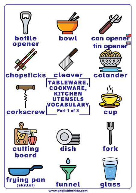 Kitchen utensils vocabulary - printable poster for English learners