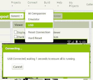 Connessione tramite usb