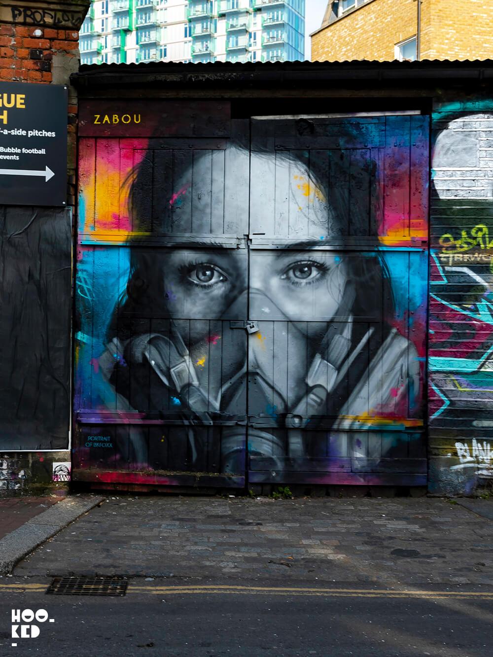 London Street art on Brick Lane by street artist Zabou