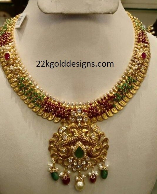 75grams Colorful Gold Kasu Necklace