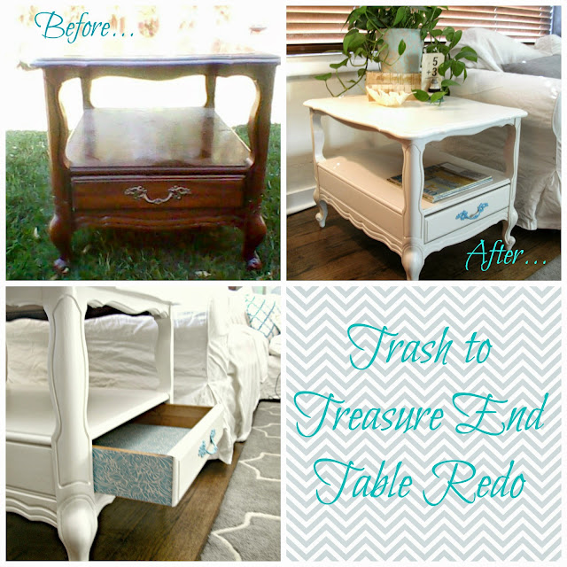trash to treasure end table redo